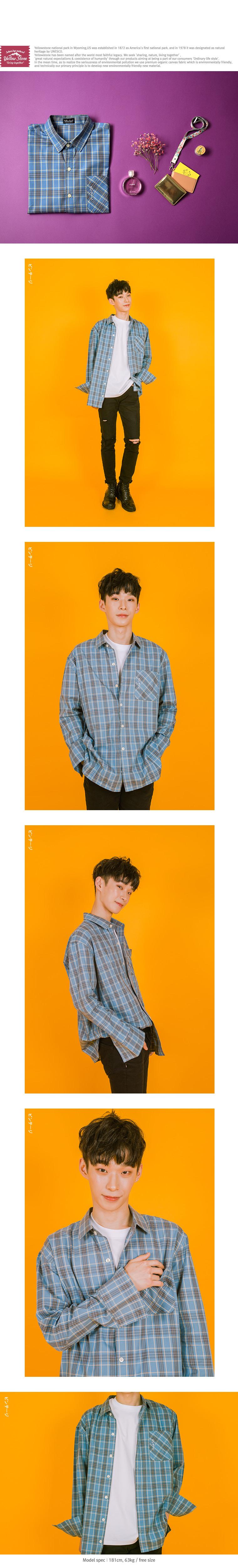 [옐로우스톤] 오버핏 체크 셔츠-YS101SC Sky Blue